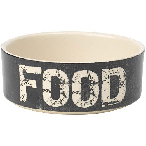 PetRageous 2-Cup Food Vintage Pet Bowl, 5-Inch, Black/Natural (Large Ceramic Dogs)