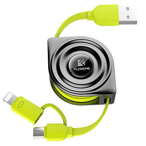 Retractable Lightning Cable, FLOVEME 2 in 1 Extension 3.3ft Flexible Charging Data Sync Micro USB Charger Cord for iPad iPhone X 8 7 6 6s 5 5s SE Samsung S6 S7 Edge S8 Plus Note 5 LG HTC, Green