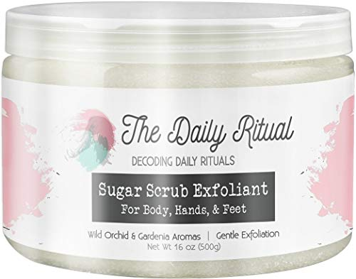 Exfoliating Sugar Scrub 16 Ounce for Body, Hand, and Foot, Improves Cellulite, Varicose Veins, and Lush Soft Skin, Cucumber Melon Aromas by the Daily Ritual