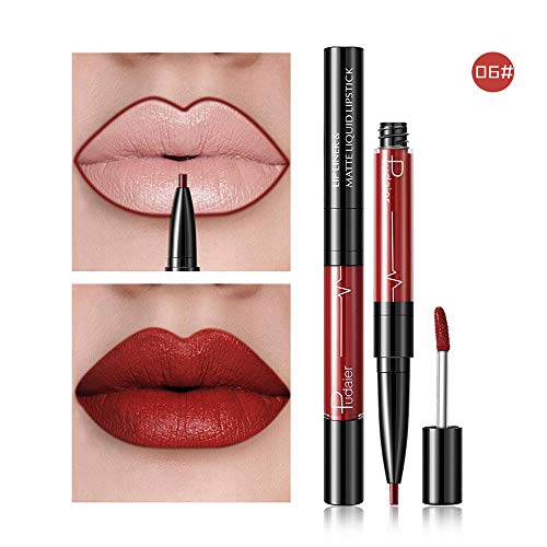 Franterd 16 Colors Liquid Lipstick Double-end Lasting Lip Gloss+ Waterproof Lip Liner Stick Pencil ()