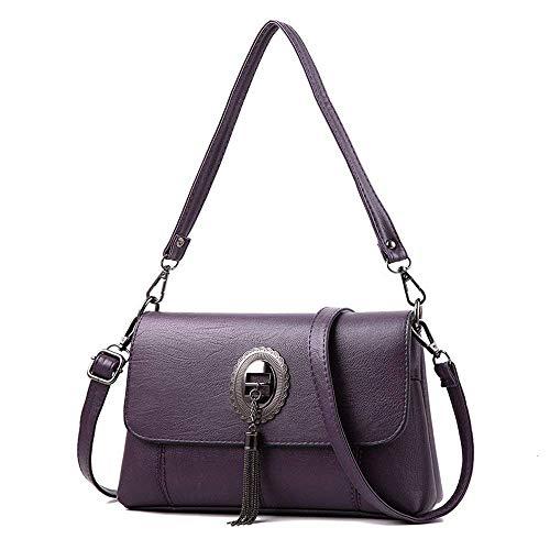 Retro Púrpura de Rojo Hombro Verde tamaño Eeayyygch Mujer Bolso de Color Bag Borla Moda Messenger Simple wtxxAXZqR