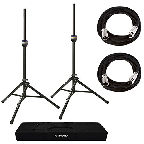 Pair of Ultimate Support TS90 Aluminum Speaker Stands with Speaker Stand Bag + 2 XLR Mic Cables 20 ()