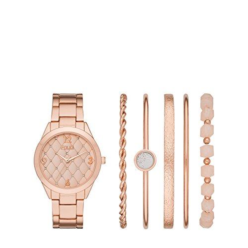 Folio Women's Gold-Tone Alloy Watch Gift Set