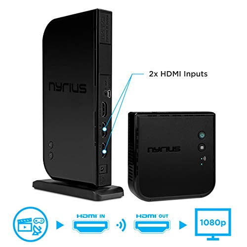 - Nyrius ARIES Home+ Wireless HDMI 2x Input Transmitter & Receiver for Streaming HD 1080p 3D Video and Digital Audio from Cable box, Satellite, Bluray, DVD, PS4, PS3, Xbox One/360, Laptops, PC (NAVS502)