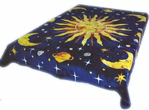 Moon and Stars Soft Queen Korean Style Mink Blanket ()