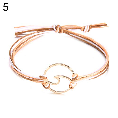 (CHoppyWAVE Bracelets Women Fashion Simple Wave Circle Multi Layers Rope Bracelet Bangle Jewelry Gift - 5#)