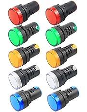 BNYZWOT Indicator Light AC/DC 110V 20mA LED Flush Panel Mount Red Green Blue Yellow White 10 Pcs