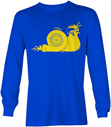 Tcombo Turbo Snail. Long Sleeve Mens T-Shirt Tee (Medium, Royal Blue) (Turbo Wagon)