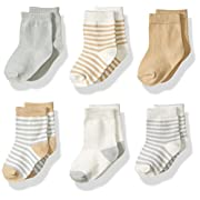 Touched by Nature Baby Organic Cotton Socks, Neutral Stripes 6Pk, 6-12 Months