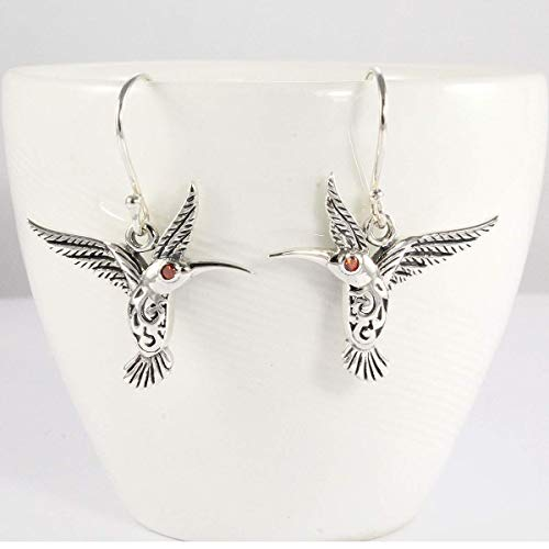 Hummingbird Earrings,925 Sterling Silver beautiful dangle earrings with enchanting 1.5 mm red cubic zirconia,earrings red zirconia