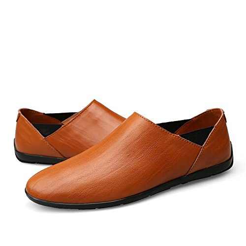 Uomo Mocassini pelle Uomo Brown Nero Mocassini on Fashion Driving Color Red da 2018 casual Yajie 38 Dimensione Slip scarpe EU PU shoes Boat Mocassini in SHw8Wv8pn