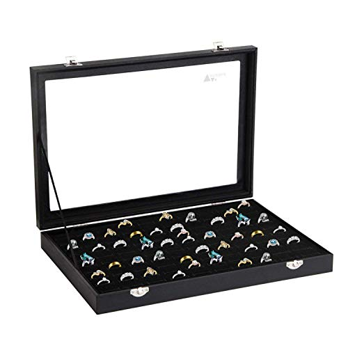 amzdeal Ring Case 100 Slots Ring Box Organizer Holder Jewelry Display Storage Collector Earring Showcase Ring Tray, Ideal Gift for Women and Men, Black -