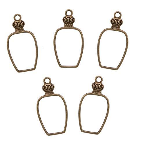 (JETEHO 50Pcs Perfume Bottle Open Bezels for Resin, Open Back Bezel Pendant Blanks Zinc Alloy Accessories for Jewelry Making,Bronze)
