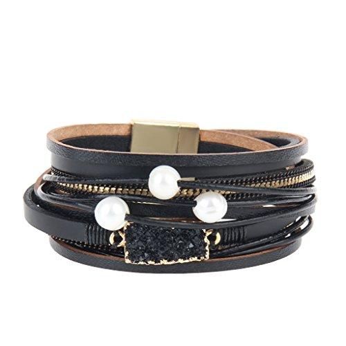 COOLLA Women Genuine Leather Vintage Volcanic Stone Wrap Bangle Bracelet Pearl Pendant Magnet Buckle