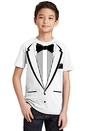 Promotion & Beyond Tuxedo (Black) with Pocket Square Ceremony Youth T-Shirt, Youth S, White