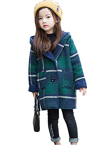 c83cd2f57ab85 KAWA KANA 女の子 コート ダッフルコート チェック柄 裏起毛 中綿コート アウター フード付き ロング