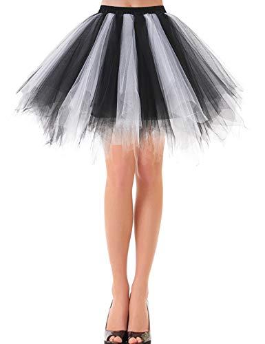 Bbonlinedress Women's Halloween Tutu Costume 1950s Vintage Petticoat Puffy Ballet Bubble Tulle Skirt Black-White M