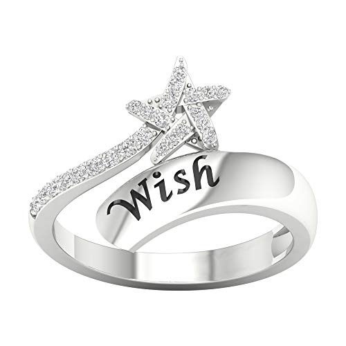 IGI Certified Sterling Silver 1/8ct TDW Diamond Star Wrap Ring (I-J, ()
