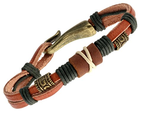 15 Leather Bracelets (Tribal Leather 15mm Men's Surf Wristband Bracelet)
