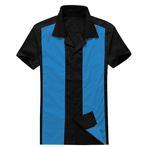 Anchor MSJ Men's 50s Male Clothing Rockabilly Style Casual Cotton Blouse Mens Fifties Bowling Dress Shirts (L, -
