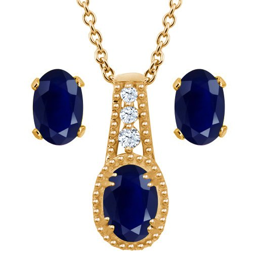 2.20 Ct Oval Blue Sapphire 14K Yellow Gold Pendant Earrings Set With 18'' Chain by Gem Stone King