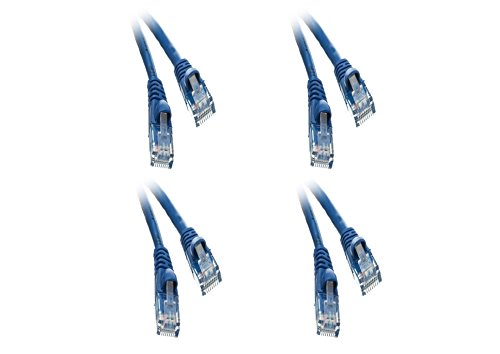 C&E 4 pack, CAT5E Blue Hi-Speed LAN Ethernet Patch Cable, Snagless/Molded Boot, 4 Feet, CNE474774
