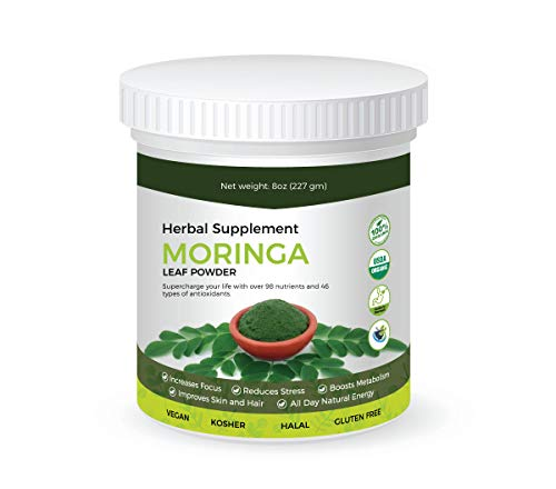 Heavenly Herbals Organic Moringa Leaf Powder – Natural Green Superfood & Herbal Supplement | Vitamins, Proteins & Aminos to Boost Energy, Promote Weight Loss | Vegan, Kosher, Gluten Free Super Food