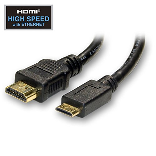GOWOS Mini HDMI Cable, High Speed with Ethernet, HDMI Male to Mini HDMI Male (Type C) for Camera and Tablet, 6 Foot - 3D Category 2 CL3 Flex Channel Connector Audio DVI Braided Cord