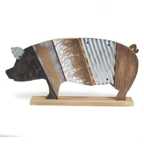 Burton & Burton Decor Wood Slat Pig With Tin Accents