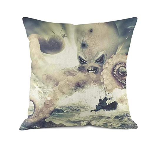 DDBBYLE Octopus Tentacles Over Ocean Attack Aircraft Tanks Throw Pillows Covers Home Decorative Cotton Sofa Cushion Pillow Cases Pillowcases for Couch Sofa Chair Bedding Car Decoration -