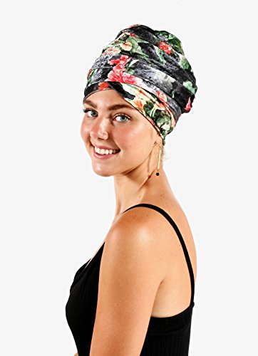 Pretty Simple Luxury Turban Floral Velvet Head Wrap Extra Long Scarf Tie, Gray by Pretty PS Simple (Image #5)