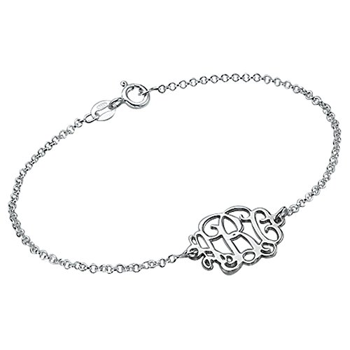 MyNameNecklace Sterling Silver Monogram Bracelet-Custom Made with Any Initial! Custom Made Sterling Silver Bracelet
