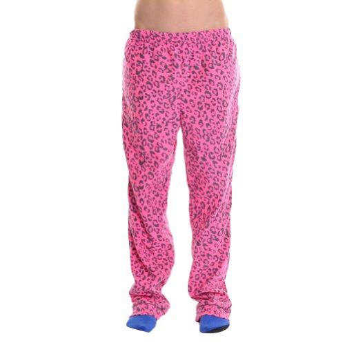 Flannel Leopard Gifts (Angelina Cozy Fleece Pajama Pants, 93122 Fuchsia Leopard_L)