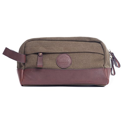 Vintage Toiletry Bag Dopp Kit - Genuine Leather And Durable 16 oz Canvas Handmade By Rugged Hombre Supply Co.