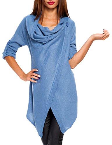 Zeta Ville - Womens Long Sleeve Knitted Waterfall Cardigan Jacket Blazer - 298z (Blue, US 6/8, ONE SIZE)