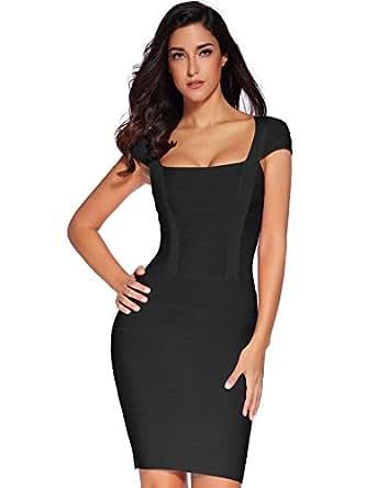 Meilun Women's Rayon Sexy Elegant Square Neck Bandage Pencil Dress X-Small Black