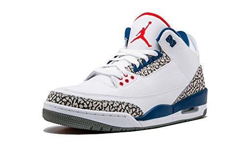 Jordan Textile - Nike Men's Air Jordan 3 Retro OG White/Fire Red-true Blue-cement Grey - 7.5 D(M) US