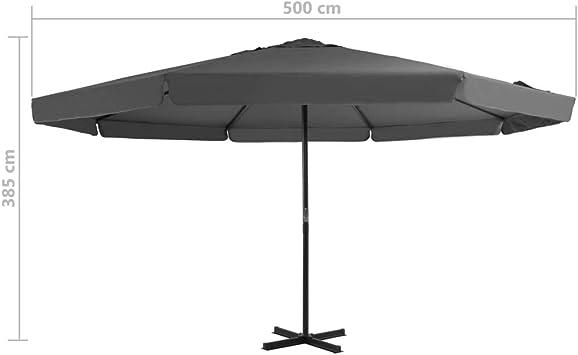 Mbel, Schilder & Dekoration vidaXL Sonnenschirm 500cm Anthrazit ...