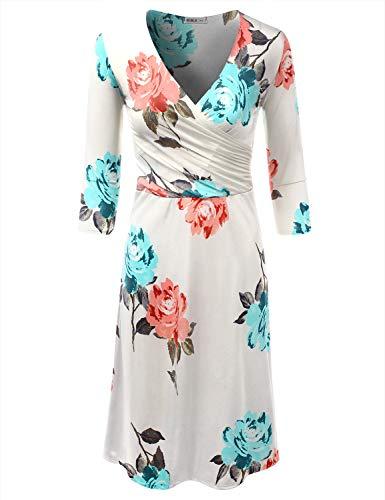 Cotta In Più Awdmd0217 Il Solido Con made Doublju Formato Il Stampato Vestito E Per Linea Una Usa Le Avvolgente flowerivory Donne rrqHTZ