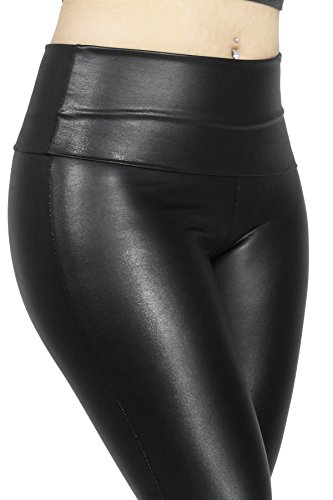 High Waist Faux Leather Trendy Fashion Pants for Women SMALL BLACK-D1853