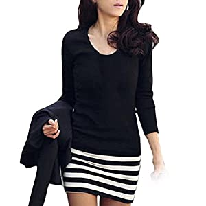 Gillberry Sexy Women Lady Long Sleeve Crew Neck Striped Slim Fit Party Dress (L)