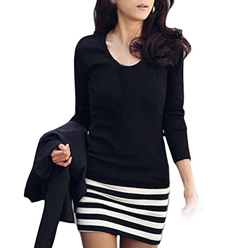 Gillberry Sexy Women Lady Long Sleeve Crew Neck Striped Slim Fit Party Dress (S)