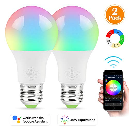 Smart Bulb, 2 Pack Nexlux Sunrise Wake-Up WiFi Lights,Cellphone Control Color Tunable Soft,Cool White,RGB Led Light Bulb 4.5W(40W Equivalent), Compatible with Alexa and Google Assistant