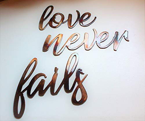 - Love Never Fails Words Metal Wall Art Accents Copper/Bronze Plated