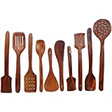 Crafts'man Pure Sheesham Wooden Kitchen Spoon Set of 7 pc Cookware Accessories with Holder and Hexagon Pen with Touch Screen Stylus