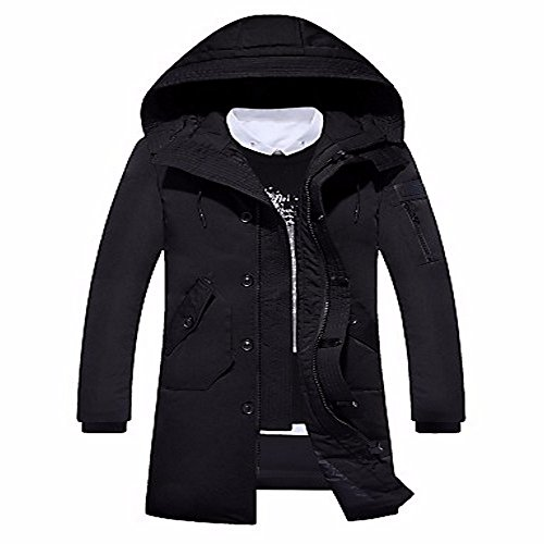 ZHUDJ Men'S Long Down Coat,Simple Casual/Daily Solid-Polyester White Down Long Sleeves Black