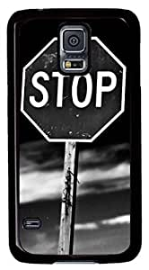 iCustomonline Stop Designs Case Cover for Samsung Galaxy S5 PC Material Black