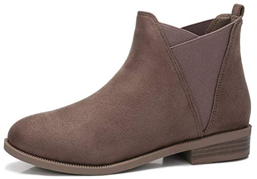 CAMEL CROWN Women's Suede Chelsea Boots Stacked Low Block Heel Ankle Booties, Taupe, 6.5 US ()