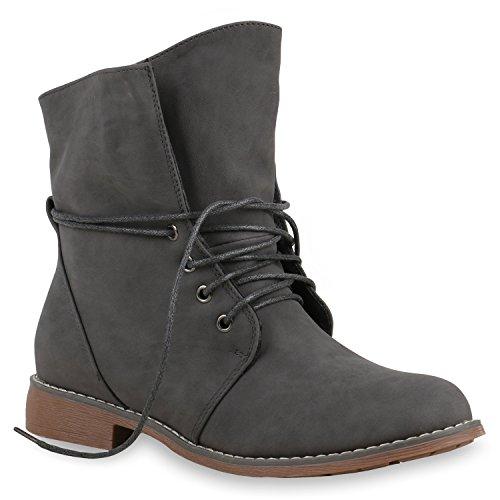 Stiefelparadies Damen Schnürstiefeletten Gefütterte Stiefel Leder-Optik Stiefeletten Animal Print Velours Boots Blockabsatz Schuhe Flandell Grau