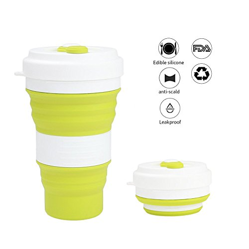 Silicone Collapsible Travel Water Bottle, BonFook Foldable Silicone Cup with Metal Hook Large Capacity - 550mL 19oz BPA Free, Food Grade, FDA-approved Portable Outdoor Hiking, Camping (Food Large Mug)